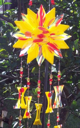 Yellow sunburst wind chime